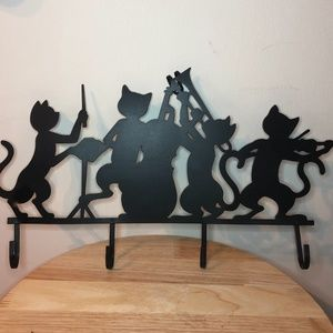 3for$30* Vintage metal cats 4 hooks wall hanger